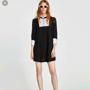 Zara black contrast pleated button collar up dress